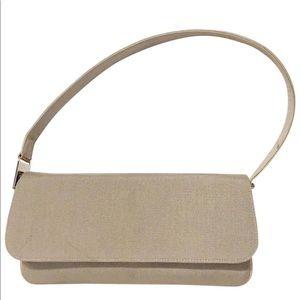 Stuart Weitzman tan fabric and leather flap bag